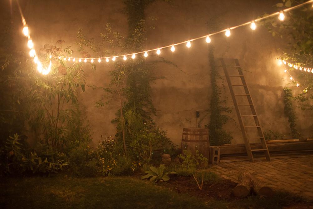 maas building backyard christmas lights night time