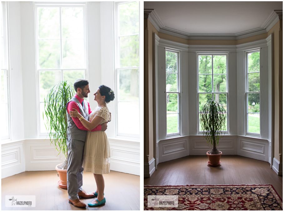 Awbury Arboretum Wedding, couple standing in beautiful bay window, natural light
