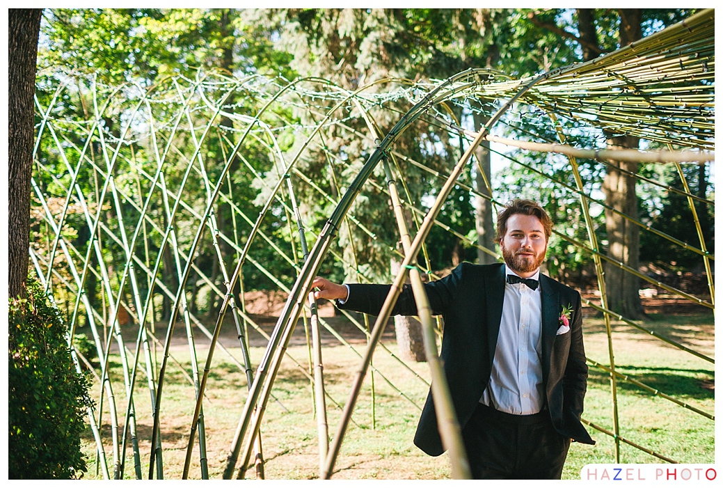 A bamboo arch for wedding decoration