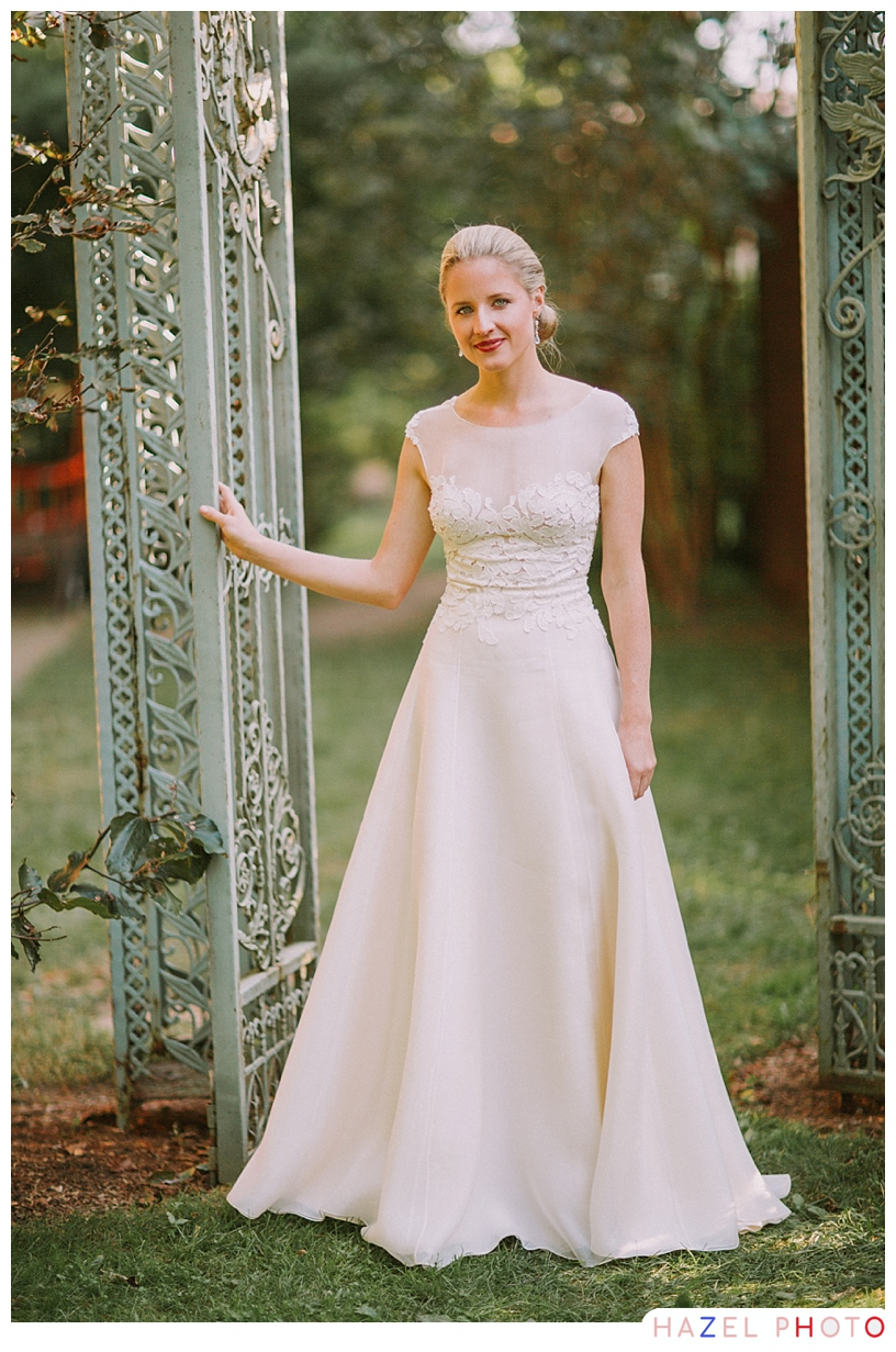 lovely weathered gate bridal portrait