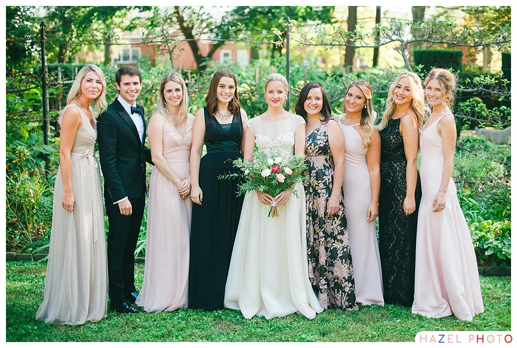 casual and elegant black tie bridal party