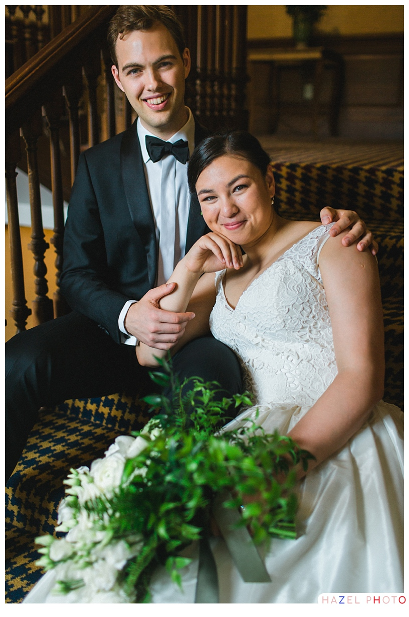 Sitting Bride Groom Portrait San Francisco Wedding Photographer