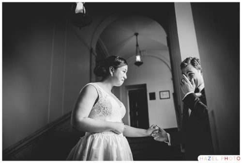 An emotional first look at an Exeter Wedding. Documentary wedding photography