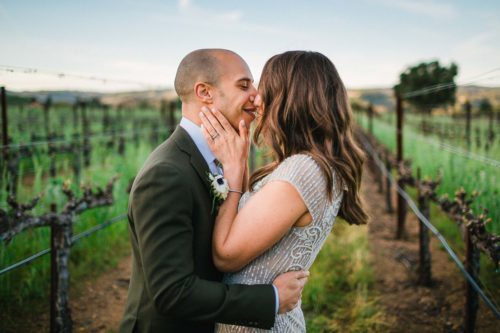 Napa Valley Wedding Photographer Bride and Groom Kissing