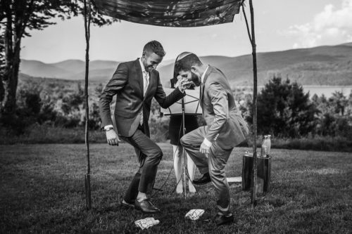 San Francisco Gay Wedding. Jewish men stomping on a glass.