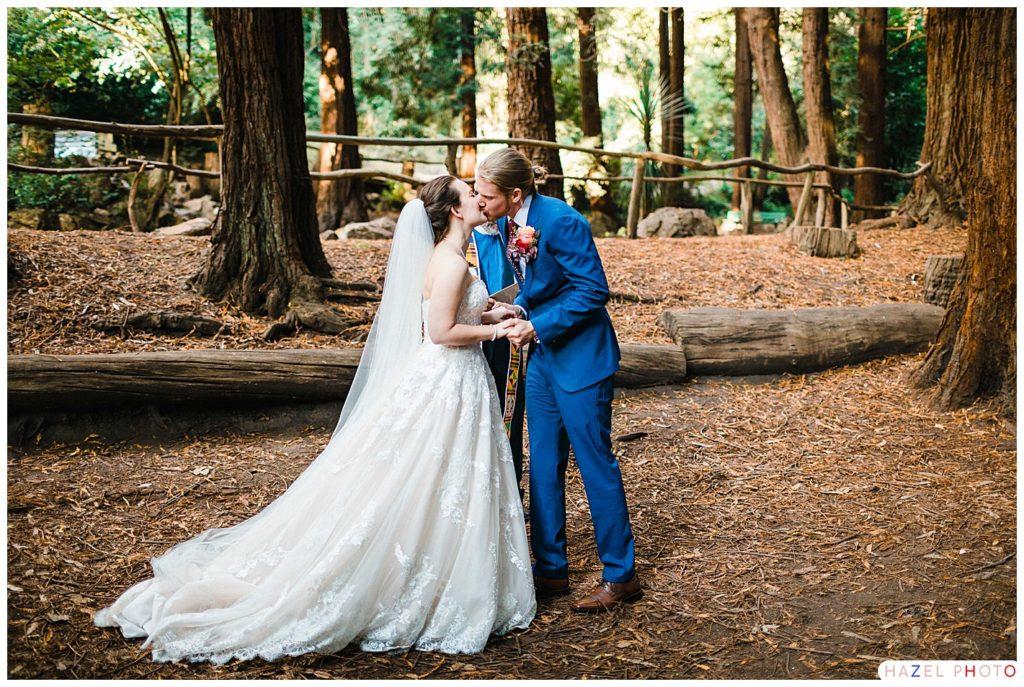 Bride and Groom kissing at a Stern Grove Wedding