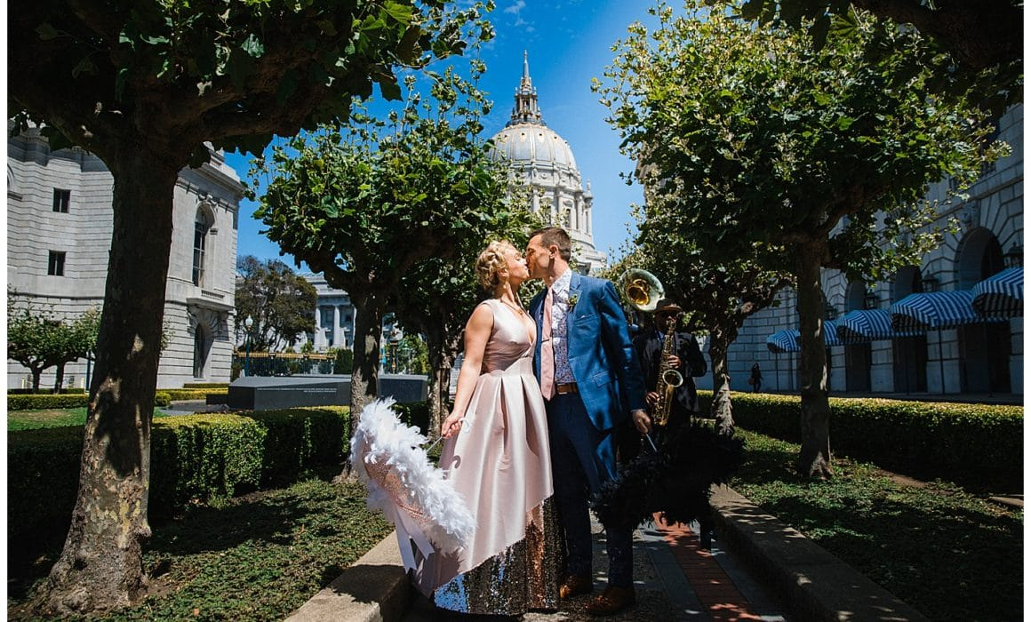 San Francisco meets New Orleans 2nd line wedding